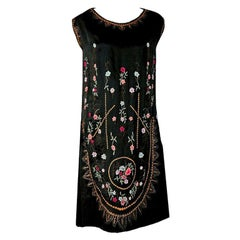 Vintage 1920's French Heavily-Embroidered Metallic Floral Silk Flapper Dress