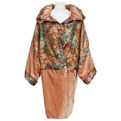 Vintage 1920's French Metallic Deco Lamé & Pink Velvet Dolman-Sleeve Cocoon Coat