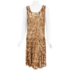 Vintage 1920's French Metallic Gold Beaded Sequin Cotton-Net Flapper Deco Dress