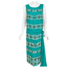 Vintage 1920's French Turquoise Blue Beaded Deco Floral Drop-Waist Flapper Dress
