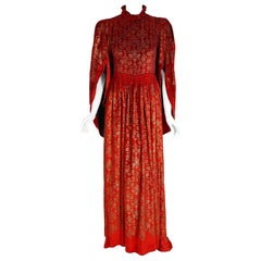 Vintage 1920's Gallenga Couture Metallic Stenciled Red Velvet Angel-Sleeve Gown
