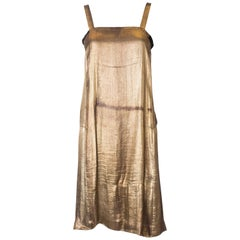 Vintage 1920s Gold Lame Shift Dress