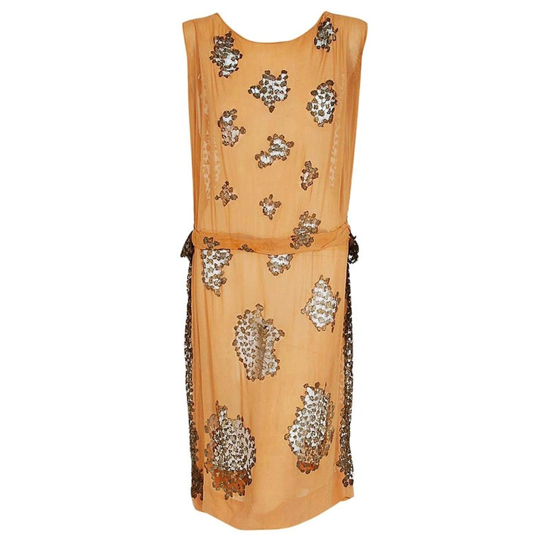 Vintage 1920's Goupy French Couture Tangerine Silk & Metallic Gold Lace Dress  For Sale
