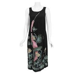 Vintage 1920's House of Adair Couture Pink-Stork Novelty Beaded Black Silk Dress