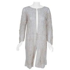Vintage 1920's Ivory Embroidered Net & Filet-Lace Angel Sleeve Bridal Jacket