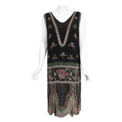 Vintage 1920's Jean Patou Haute Couture Attributed Beaded Floral Silk Deco Dress