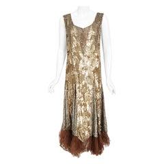 Vintage 1920's Metallic Gold Beaded Sequin Cotton-Net & Tulle Deco Flapper Dress