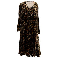 Vintage 1920s Printed Velvet Dress