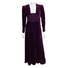 Vintage 1920s Purple Velvet Gown
