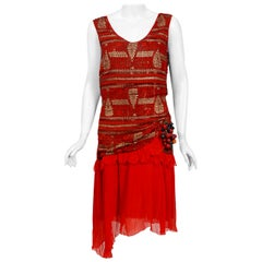 Vintage 1920's Red & Metallic Gold Deco Print Lamé Pleated Chiffon Flapper Dress