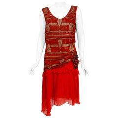 Vintage 1920's Red & Metallic Gold Deco Print Lamé Pleated Chiffon Flapper Dress