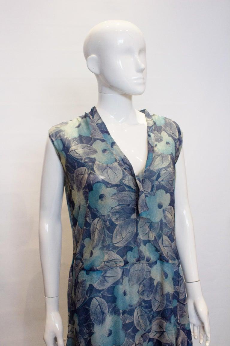 Black Vintage 1920s Silk Blue Floral Dress For Sale