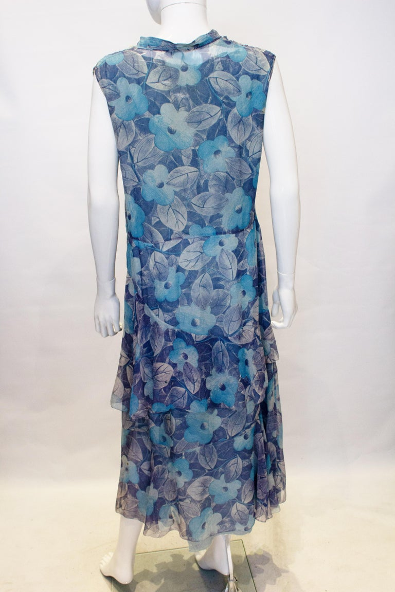 Vintage 1920s Silk Blue Floral Dress In Good Condition For Sale In London, GB