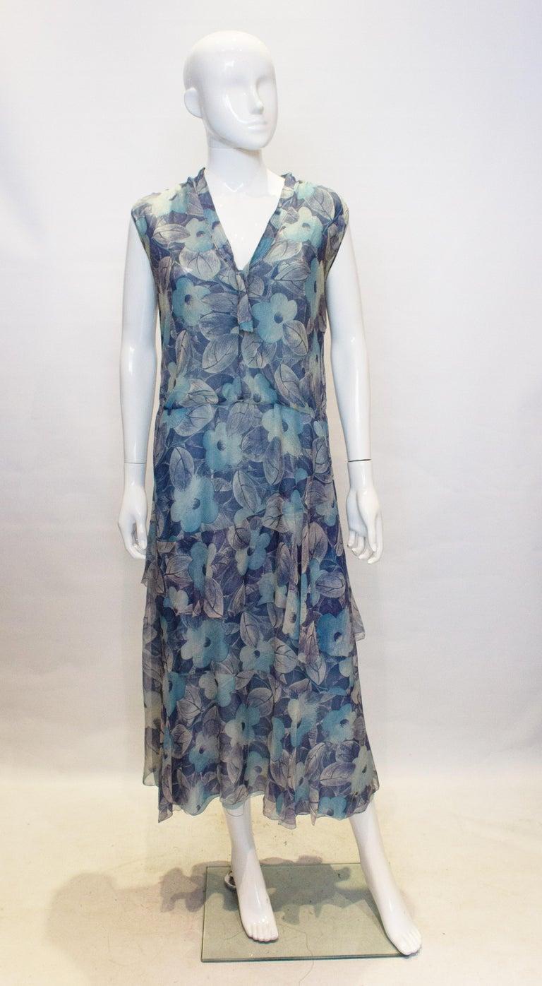 Women's Vintage 1920s Silk Blue Floral Dress For Sale
