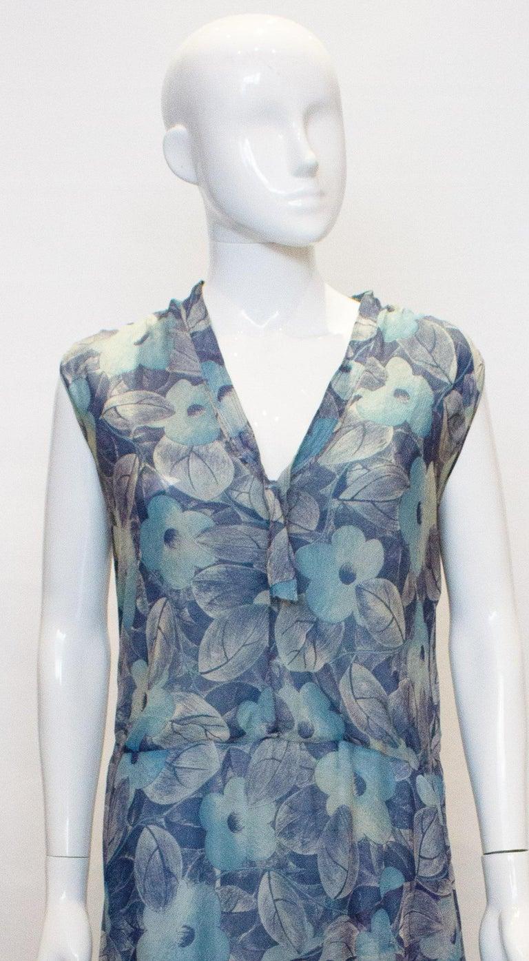 Vintage 1920s Silk Blue Floral Dress For Sale 1