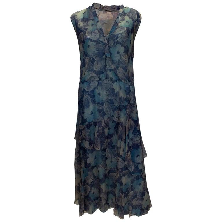 Vintage 1920s Silk Blue Floral Dress For Sale