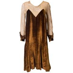 Vintage 1920s Silk Velvet and Lace Dress