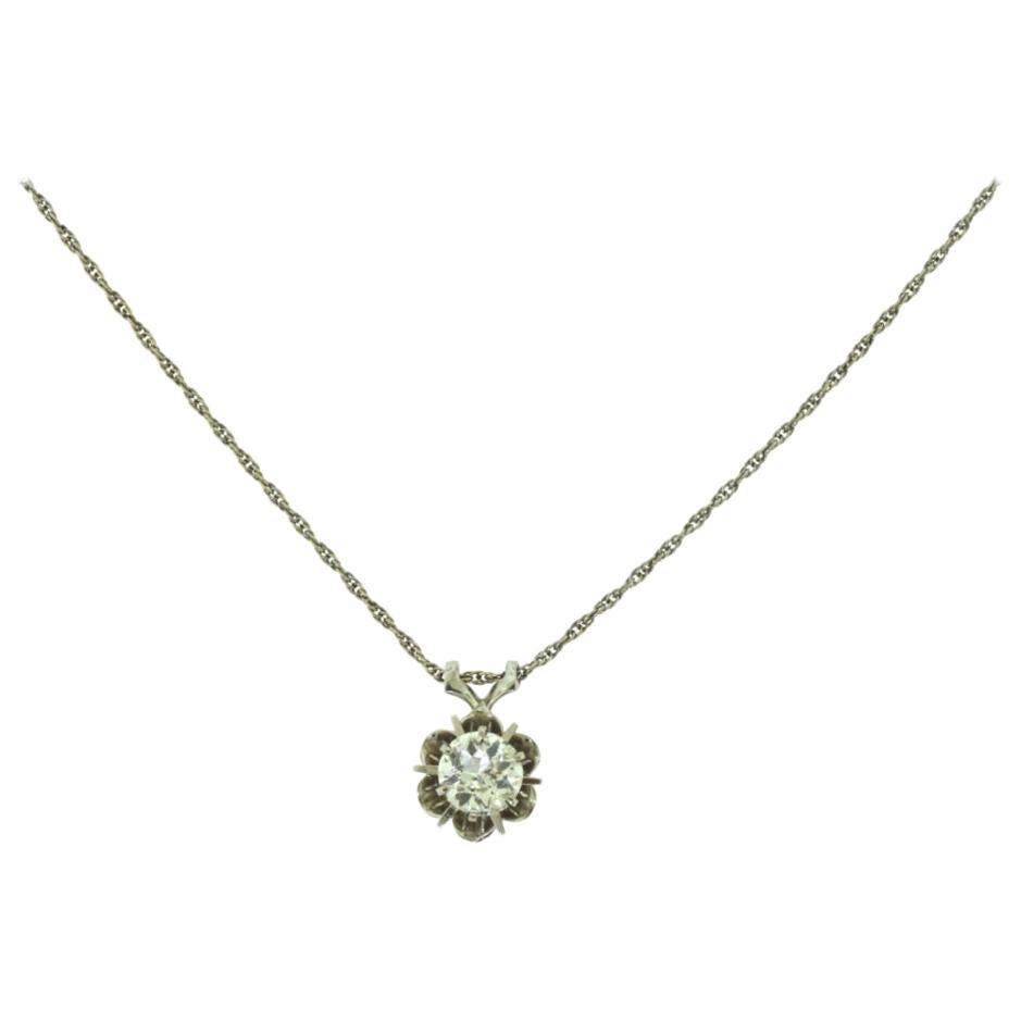 Vintage 1920s Solitaire Diamond White Gold Flower Pendant Necklace