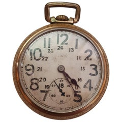 Vintage 1923 Illinois Pocket Watch, Railroad, Gold-Plated, Working, 17 Jewel