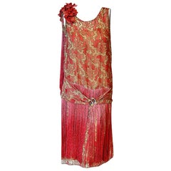 Vintage 1925 B. Altman Couture Metallic-Gold Pink Lamé Ombre Fringe Dress