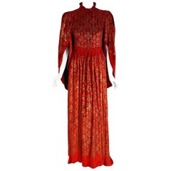 Vintage 1925 Gallenga Couture Metallic Stenciled Red Velvet Angel-Sleeve Gown