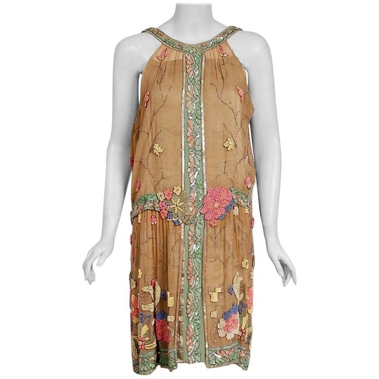Vintage 1925 Henri Bendel Couture Beaded Floral Silk and Lamé Flapper Deco Dress For Sale