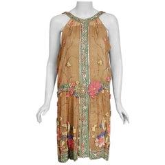 Vintage 1925 Henri Bendel Couture Beaded Floral Silk and Lamé Flapper Deco Dress