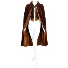 Vintage 1930 Chanel Haute Couture Caramel Brown Velvet Scarf-Neck Sculpted Cape