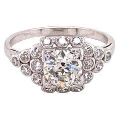 Vintage 1930s 1.00 Carat European Cut Diamond Platinum Ring with Bezel Set Halo