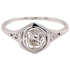 Vintage 1930s 14KW .85 Carat European Cut Diamond Bezel Art Deco Ring