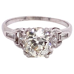 Vintage 1930s 1.83 Carat Old Mine Cut Diamond Art Deco Engagement Ring
