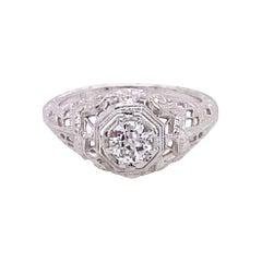Vintage 1930's 18k White Gold European Cut .29ct Diamond Filigree Art Deco Ring