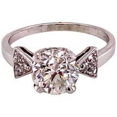 Vintage 1930s 2.00 Carat Diamond Platinum Art Deco Ring