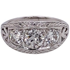 Vintage 1930s 3-Stone European Cut Diamond Platinum Ring 1.75 Carat