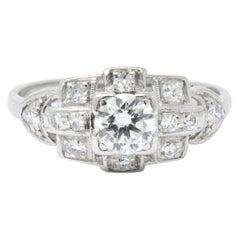 Art Deco 0.70 Carat Diamond Platinum Geometric Engagement Ring
