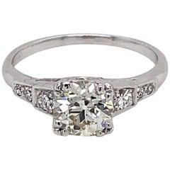 Vintage 1930s Art Deco 1.16 Carat European Cut Diamond Platinum Ring