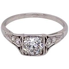 Vintage 1930s Art Deco Diamond Ring .70 Carat