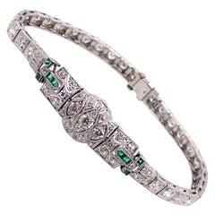 Vintage 1930's Art Deco Platinum Diamond and Emerald Bracelet