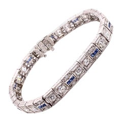 Vintage 1930's Art Deco Platinum Diamond and Sapphire Bracelet 2.00ct