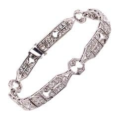 Vintage 1930's Art Deco Platinum Diamond Bracelet 3.00ct