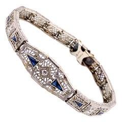 Vintage 1930's Art Deco Platinum on Gold Filigree Sapphire and Diamond Bracelet