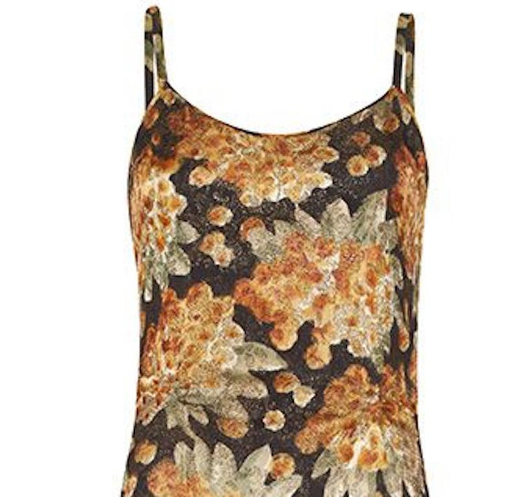 Brown Vintage 1930s Bias Cut Floral Lamé Dress For Sale
