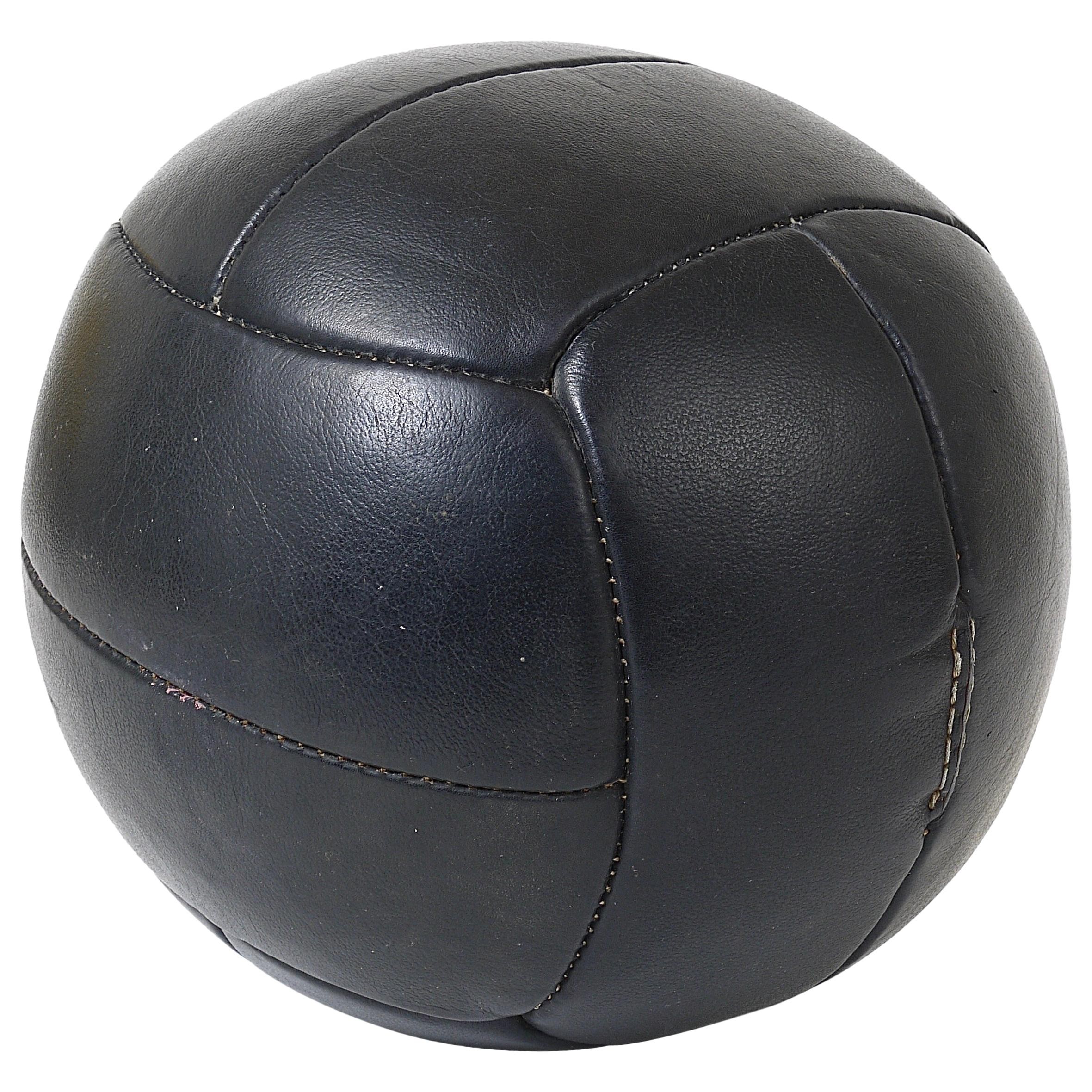 Vintage 1930s Black Leather Medicine Ball from a Gym, Czech Republic, 1930s