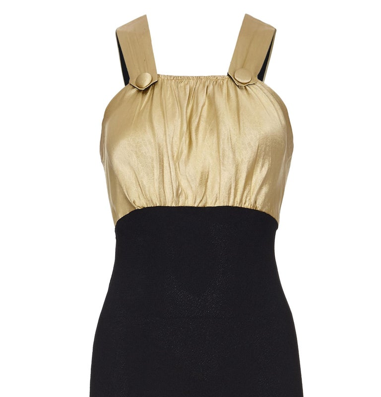 Vintage 1930s Black Silk Dress with Embossed Gold Bodice In Excellent Condition For Sale In London, GB