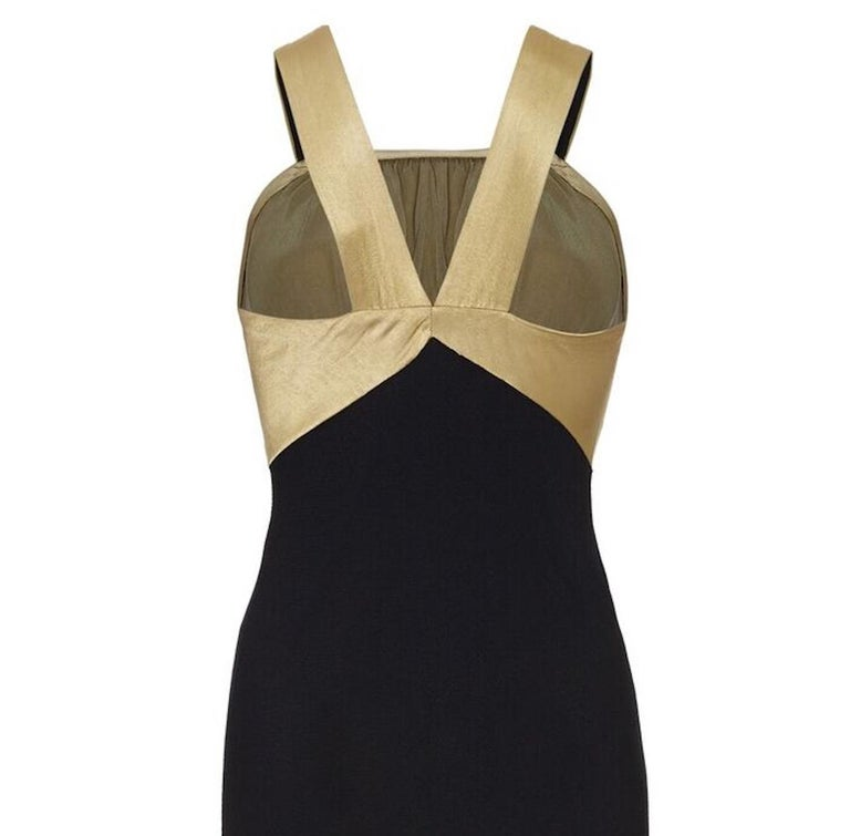 Women's Vintage 1930s Black Silk Dress with Embossed Gold Bodice For Sale