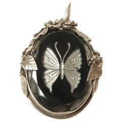 Vintage 1930's Butterfly Intaglio Black Glass & Sterling Pendant