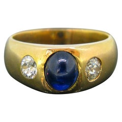 Vintage 1930s Cabochon Sapphire and Old Cut Diamond Gypsy Yellow Gold Ring