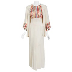 Vintage 1930's Cartwright Ivory Striped Silk Rayon Cut-Out Maxi Dress & Jacket