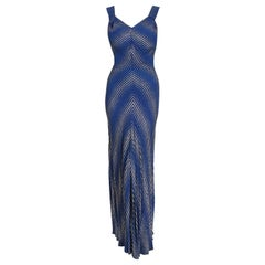 Vintage 1930's Cobalt Blue Stripe Metallic Lamé Silk Bias-Cut Hourglass Gown