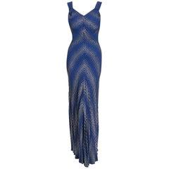 Vintage 1930's Cobalt Blue Stripe Metallic Lamé Silk Bias-Cut Hourglass Gown